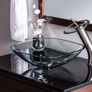 Read Reviews Piazza Glass Square Vessel Bathroom Sink By Novatto