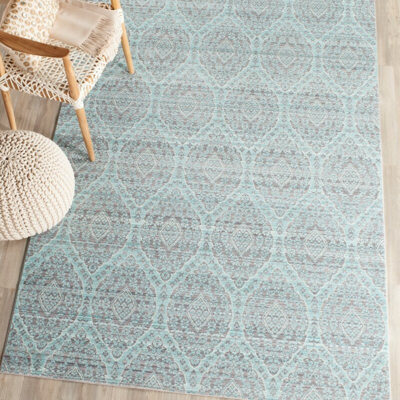 lark manor longeville gray/baby blue area rug & reviews | wayfair