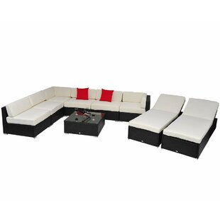 Trueblood 9 Piece Rattan Sectional Seating Group with Cushions