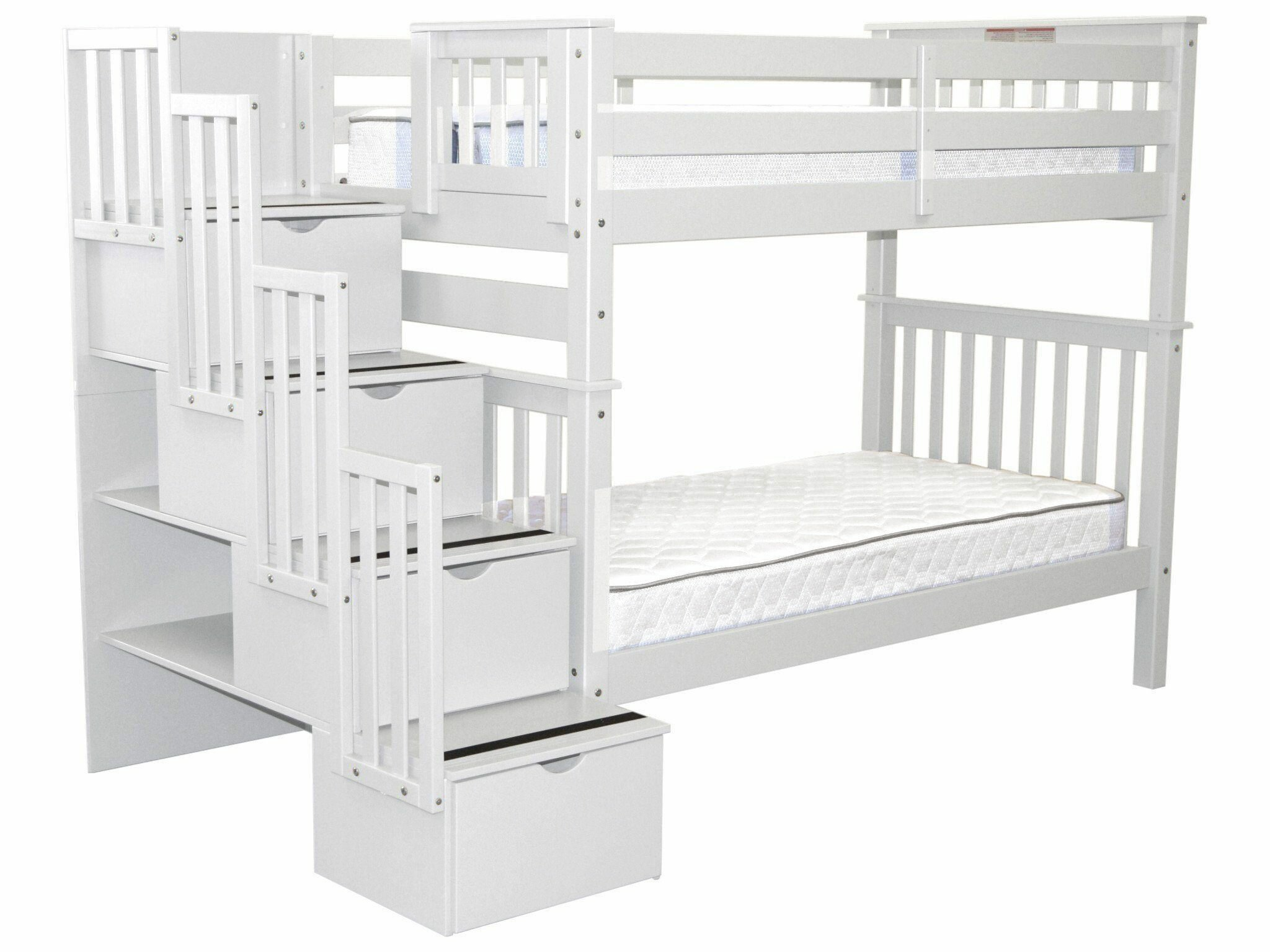 Harriet Bee Tena Tall Twin Over Twin Stairway Bunk Bed With 4 Drawers Reviews Wayfair