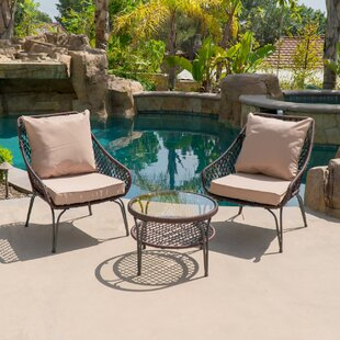 Galey Outdoor 3 Piece Conversation Set with Cushions