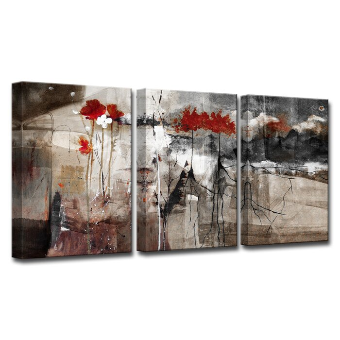 Abstract 3 Piece Print Of Painting On Canvas Set