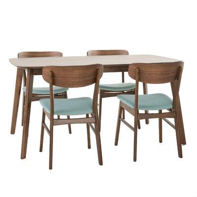 Brayden Studio Ado 5 Piece Solid Wood Dining Set