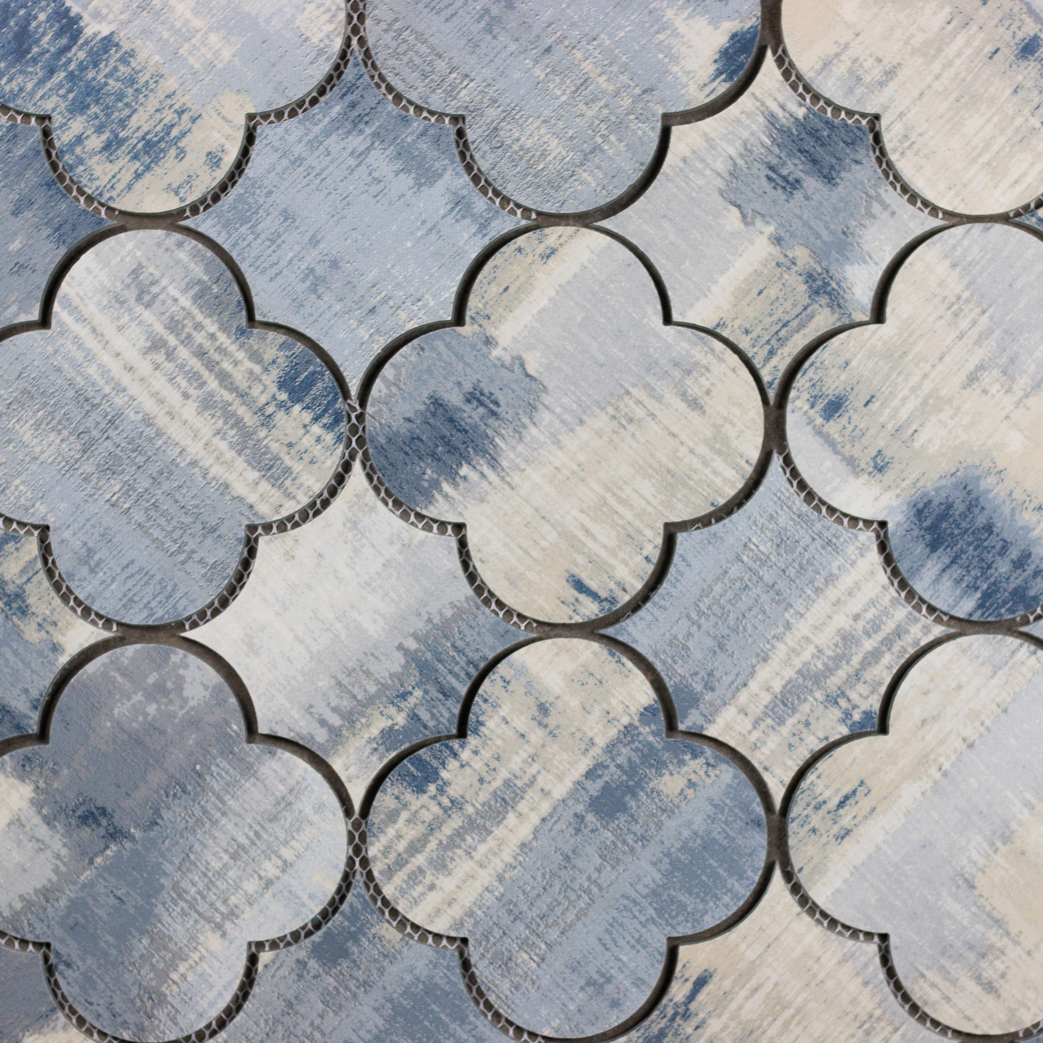 Abolos Nature Stone Look Waterjet 6 X Cement Blue Tan Taupe Beige Gl Handmade Backsplash Bathroom Mosaic Wall Tile Wayfair
