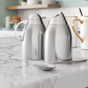 Hydrangea 2 Piece Stainless Steel Sugar And Creamer Set