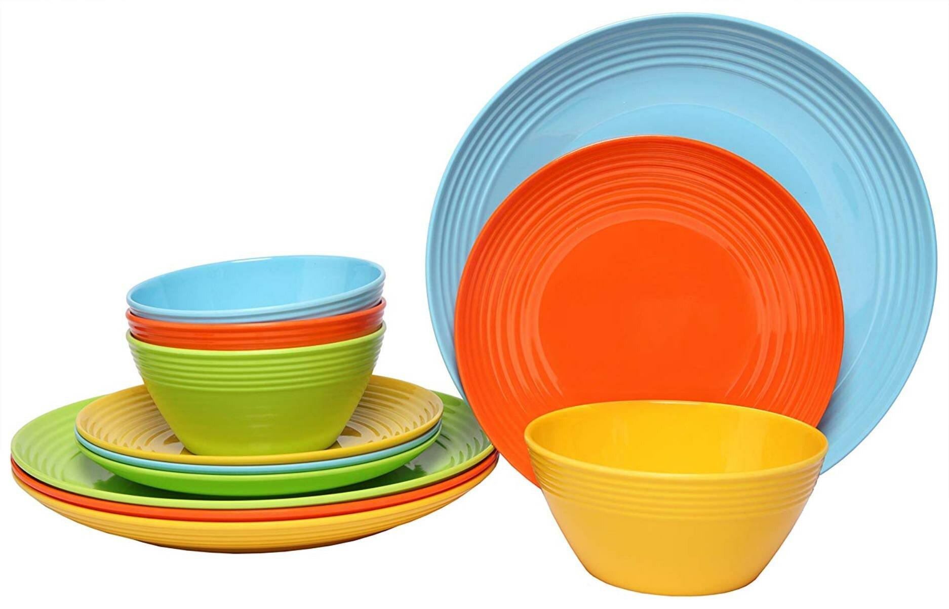 Melange Solids Melamine 12 Piece Dinnerware Set Reviews Wayfair