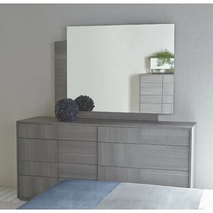Salerno 8 Drawer Double Dresser with Mirror