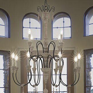 Lark manor corneau 12 light chandelier reviews wayfair corneau 12 light chandelier aloadofball Choice Image