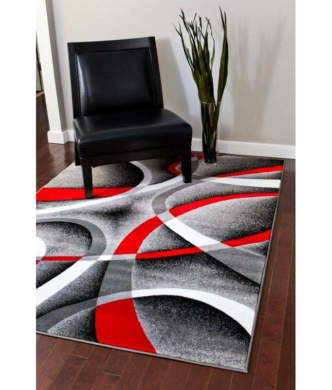 Orren Ellis Cherine Abstract Gray Red White Area Rug Reviews Wayfair