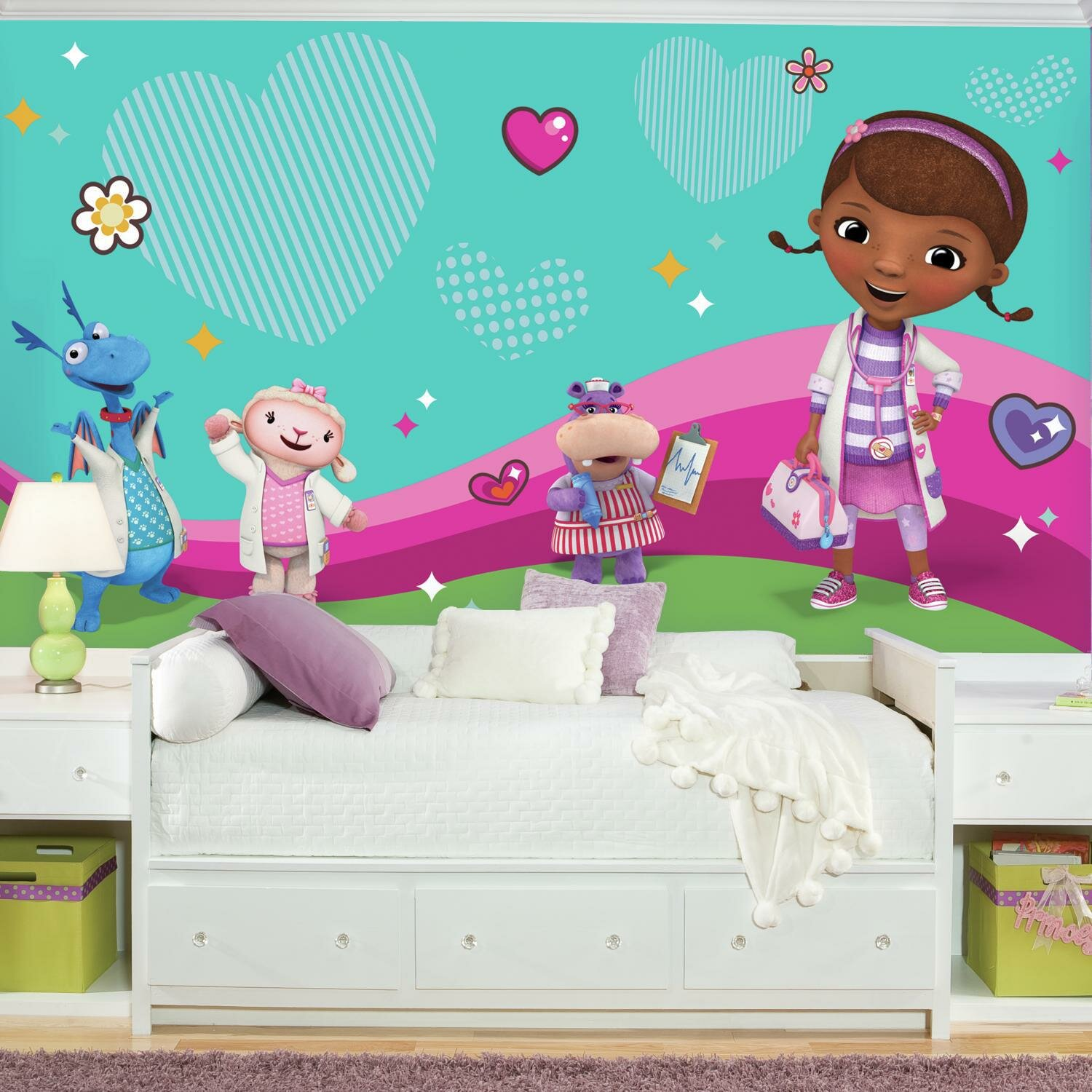 Room Mates Doc Mcstuffins And Friends Chair Rail Prepasted 10 5 X 72 Wall Mural Wayfair