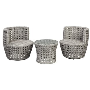 German 3 Piece Conversation Set with Cushions by Bungalow Rose