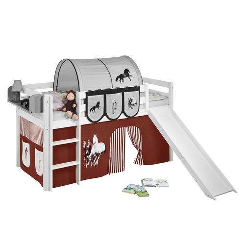 Hochbett Loraine mit Hochbettvorhang| 90cm x 200cm Roomie Kidz Farbe (Vorhang): Braun | Kinderzimmer > Kinderbetten > Hochbetten | Roomie Kidz