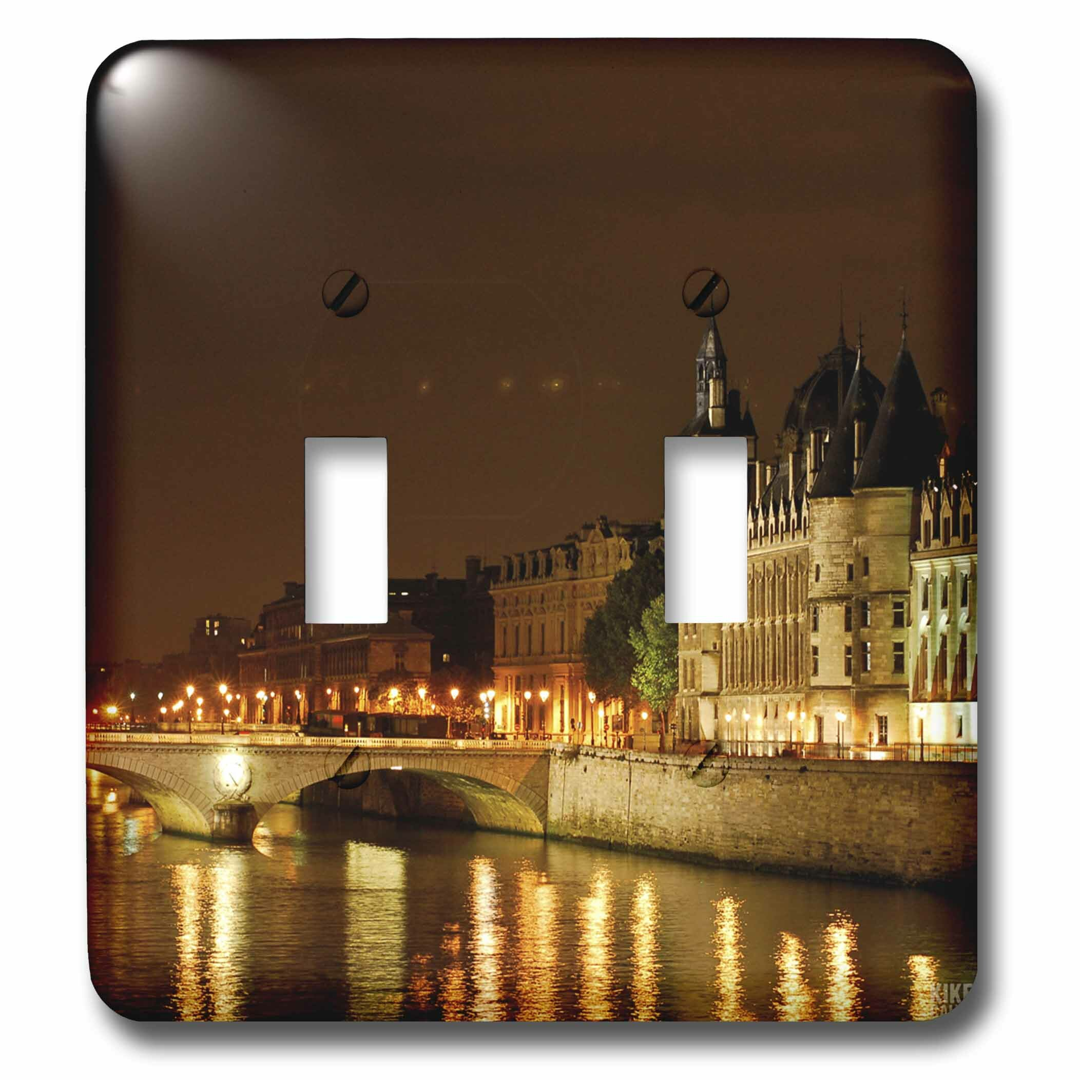 3drose Paris And The Seine River At Night 2 Gang Toggle Light Switch Wall Plate Wayfair