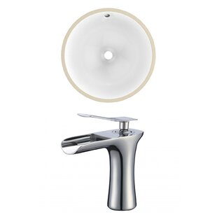 Check Prices Ceramic Circular Undermount Bathroom Sink with Faucet and Overflow By American Imaginations