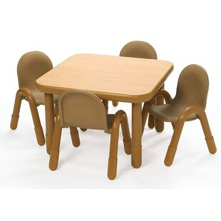 Square Baseline Preschool Table and Chair Set in Natural by Angeles