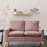 Linzy Velvet 54.7 Wide Square Arm Loveseat by Everly Quinn
