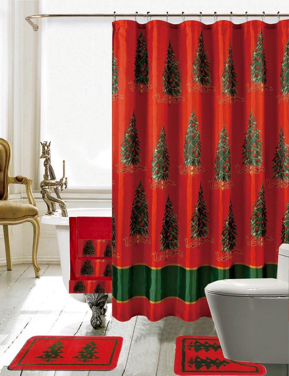 The Holiday Aisle Christmas Bathroom Decor 18 Piece Nature/Floral Shower Curtain Set & Reviews | Wayfair