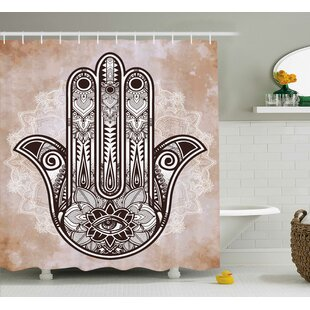 Phoenix Hamsa Hand of Fatima Grunge Mandala Decor With Evil Eye Mystic Eastern Religious Art Single Shower Curtain