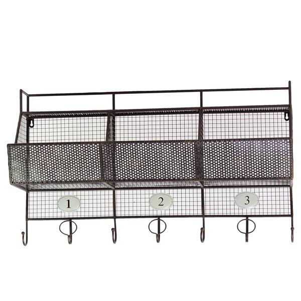 Urban Trends Metal Shelf And Coat Hanger With Mesh Backing, 3 Numbered  Shelves And 7 Hooks Black U0026 Reviews | Wayfair