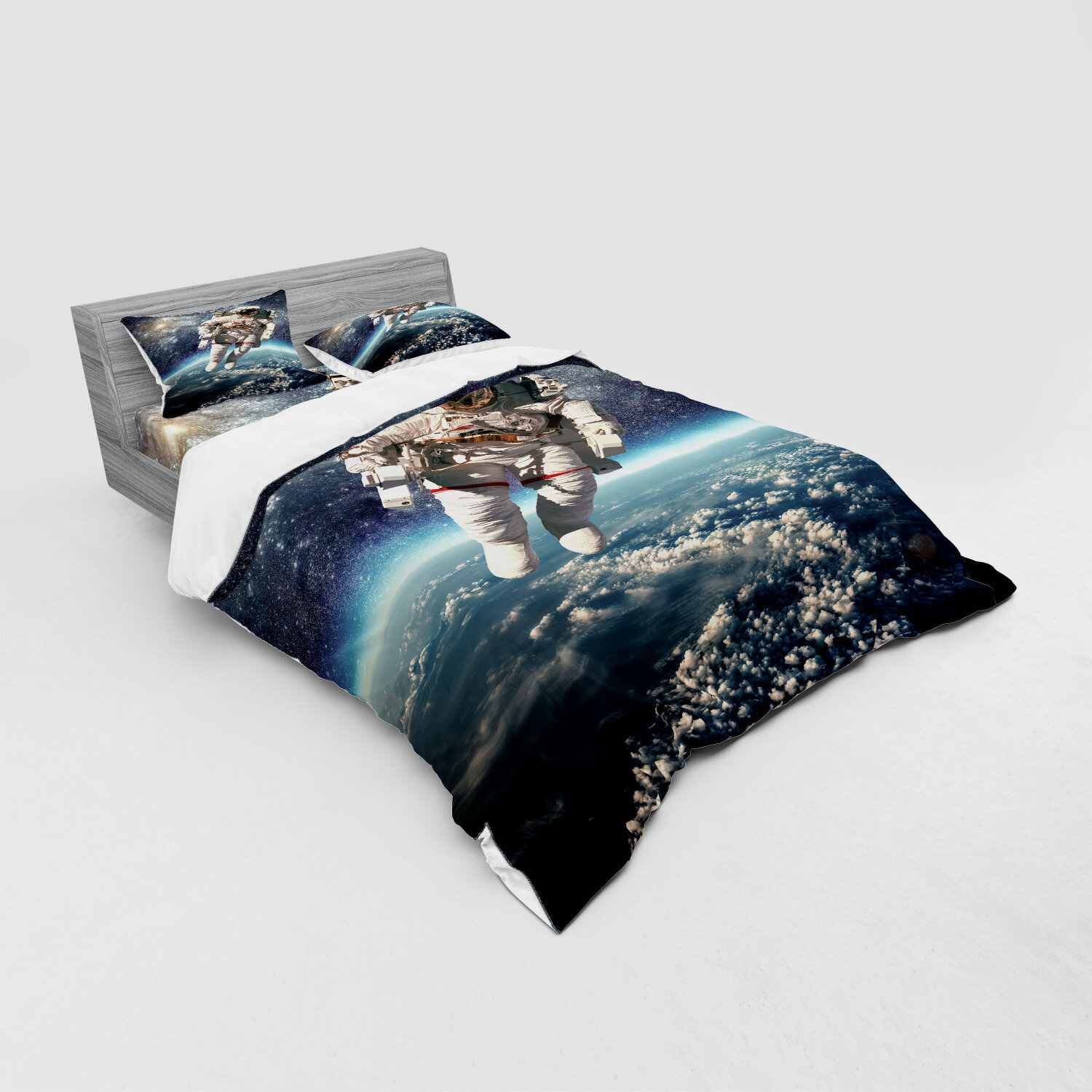 Details about  /Earth Quilted Bedspread /& Pillow Shams Set Globe Of Earth Watercolors Print