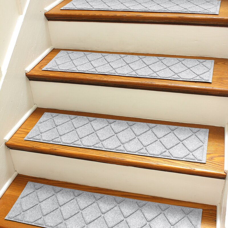 Bungalow Flooring Aqua Shield Gray Argyle Stair Tread