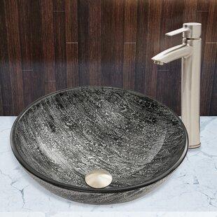 Read Reviews Titanium Glass Circular Vessel Bathroom Sink with Faucet By VIGO