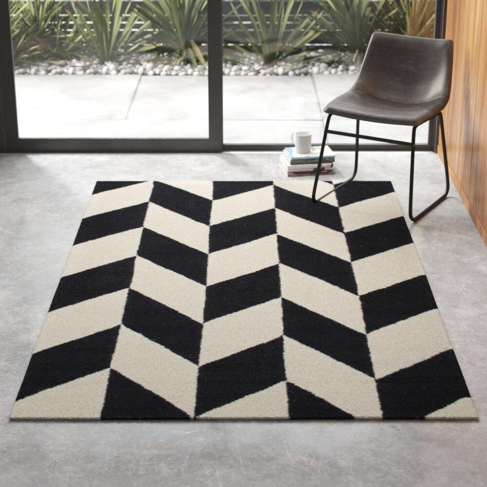 Lula Geometric Handmade Tufted Wool Black White Area Rug Reviews Allmodern