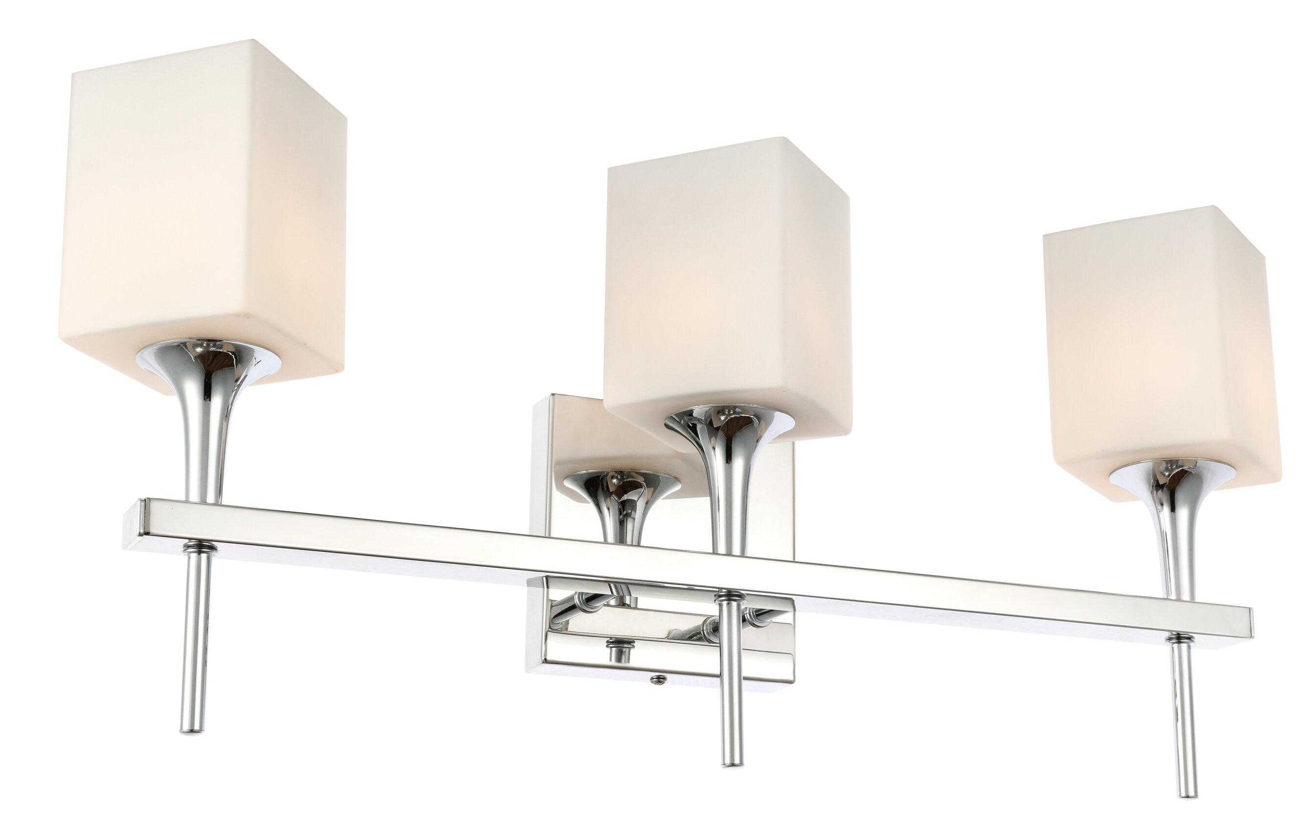 Ebern Designs Shults Opal Square Glass 3 Light Vanity Light Wayfair