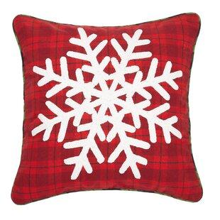 Ferro Snowflake Plaid Chenille Embroidered Cotton Throw Pillow