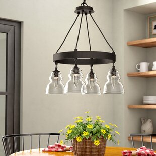 Laurel Foundry Modern Farmhouse Arla 4-Light Wagon Wheel Chandelier