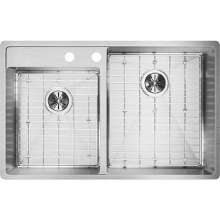 Crosstown 33 L x 21 W Double Basin Undermount Kitchen Sink with Grid and Drain Assembly by Elkay