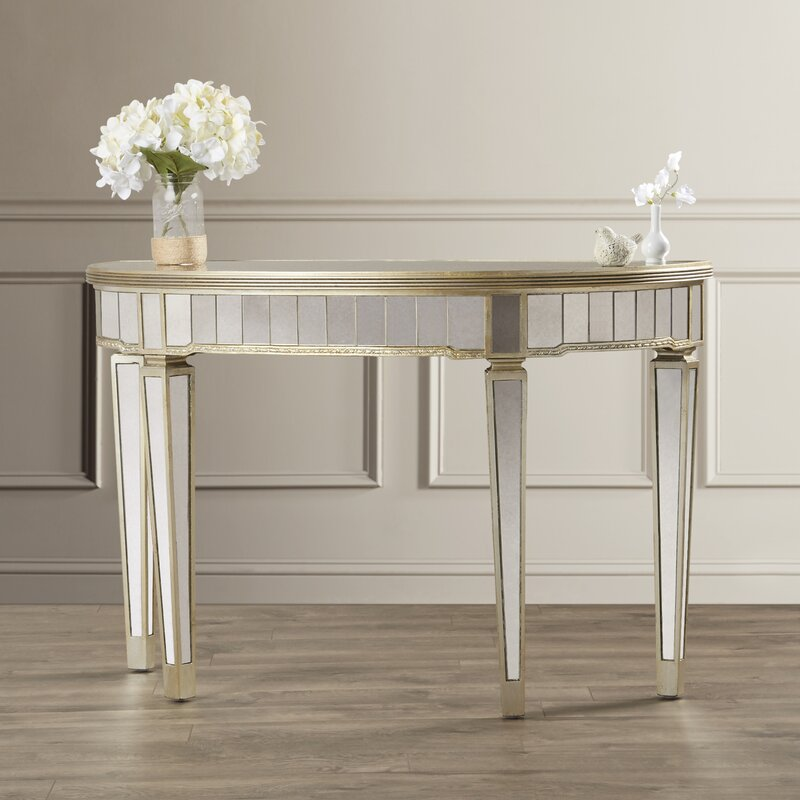 Roehl Mirrored Console Table In Antique Silver