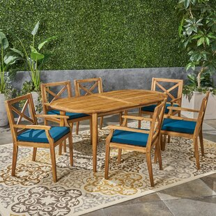Uhrichsville Outdoor 7 Piece Dining Set with Cushions