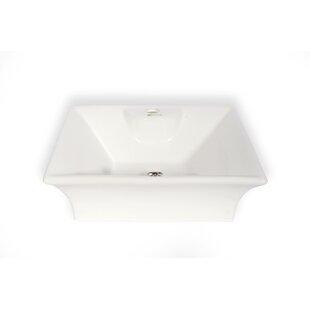 Top Reviews Cordoba Ceramic Square Vessel Bathroom Sink with Overflow ByHispania Home