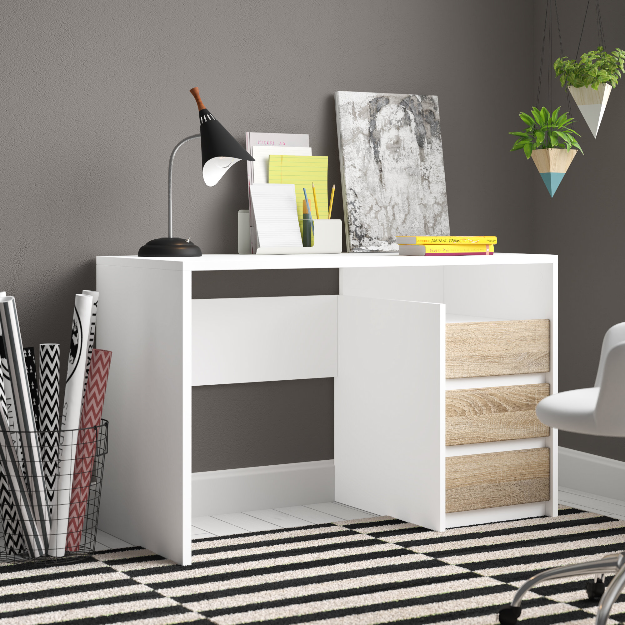 White White Wood Desks & Antiques You'll Love in 10   Wayfair