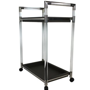 Sartin Leather Stainless Steel 2-Shelf Rolling Bar Cart