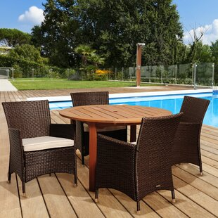 Brighton 5 Piece Round Dining Set With Cushions