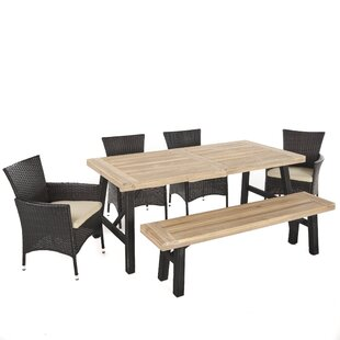 Polett Outdoor 6 Piece Dining Set with Cushions