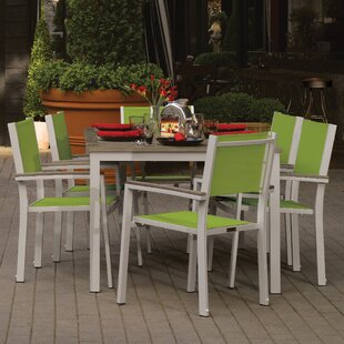 Latitude Run Farmington 7 Piece Powder Coated Aluminum Frame Dining Set