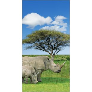 Rhino And Baby Endanger Wildlife 100% Cotton Beach Towel