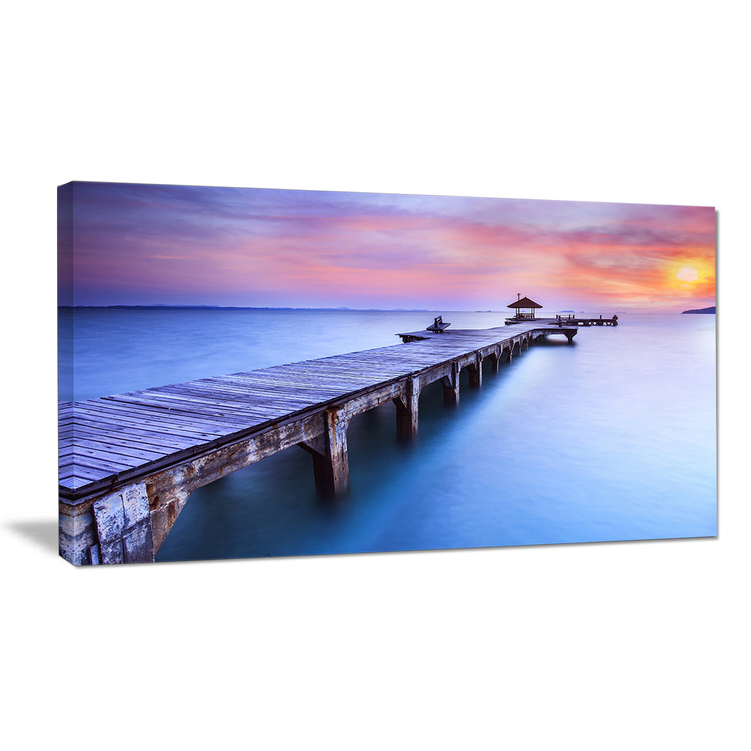 Designart Wooden Bridge Over Blue Waters Sea Pier Photographic Print On Wrapped Canvas Wayfair