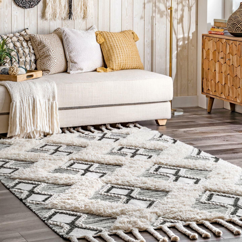 Union Rustic Stgermain Geometric Handmade Tufted Wool Gray Area Rug Wayfair