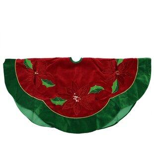 sequined poinsettia christmas tree skirt with velveteen trim - Peacock Christmas Tree Skirt