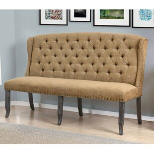 Three Posts Yarmouth Transitional Loveseat Wood/Metal Bench