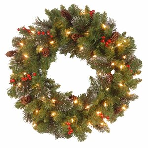 Spruce Pre-Lit Wreath with Clear Lights