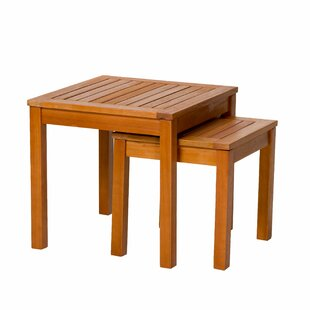Hazeltine Eucalyptus Outdoor 2 Piece Side Table Set