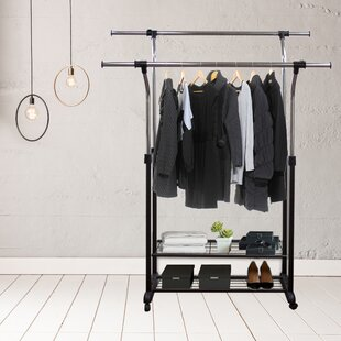 Mobile 60 W Double Rail Clothes Rack With Utility Shelves