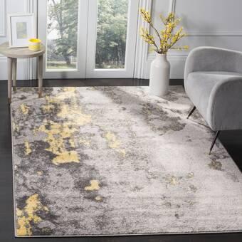 Andover Mills Regner Power Loom Yellow Black Rug Reviews Wayfair