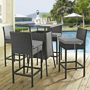 Brayden Studio Tripp 5 Piece Bar Height Dining Set with Sunbrella Cushions