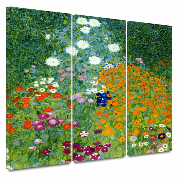 Gustav Klimt Cottage Garden With Sunflowers Paint Print On Framed Canvas Wall